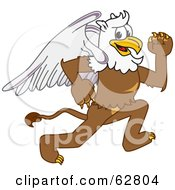 Royalty Free RF Clipart Illustration Of A Griffin Character School Mascot Running