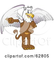 Royalty Free RF Clipart Illustration Of A Griffin Character School Mascot Pointing Left