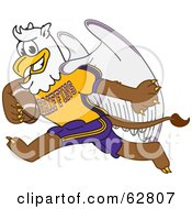 Royalty Free RF Clipart Illustration Of A Griffin Character School Mascot Playing Football