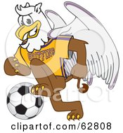 Royalty Free RF Clipart Illustration Of A Griffin Character School Mascot Playing Soccer