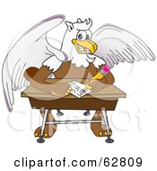 Royalty Free RF Clipart Illustration Of A Griffin Character School Mascot Doing Homework At A Desk