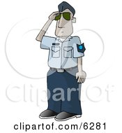 United States Air Force Pilot Saluting Royalty Free Clipart Picture