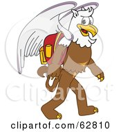 Royalty Free RF Clipart Illustration Of A Griffin Character School Mascot Walking To School
