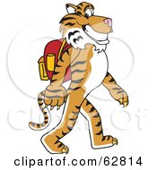Royalty Free RF Clipart Illustration Of A Tiger Character School Mascot Walking To School by Toons4Biz