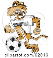 Royalty Free RF Clipart Illustration Of A Tiger Character School Mascot Playing Soccer by Toons4Biz
