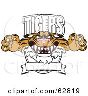 Royalty Free RF Clipart Illustration Of A Tigers Character School Mascot Logo by Toons4Biz