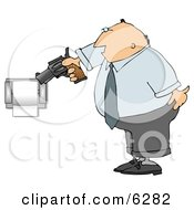 Mad Man Pointing A Gun At Toilet Paper Roll Clipart Picture