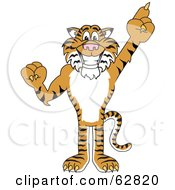 Royalty Free RF Clipart Illustration Of A Tiger Character School Mascot Pointing Up by Toons4Biz