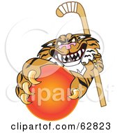 Royalty Free RF Clipart Illustration Of A Tiger Character School Mascot Grabbing A Field Hockey Ball by Toons4Biz