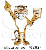 Tiger Character School Mascot Holding A Report Card