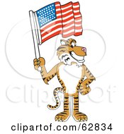 Royalty Free RF Clipart Illustration Of A Tiger Character School Mascot With An American Flag by Toons4Biz