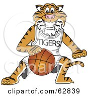 Royalty Free RF Clipart Illustration Of A Tiger Character School Mascot Playing Basketball by Toons4Biz