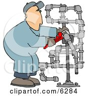 Man Working On Pipes With A Wrench Clipart Picture by Dennis Cox