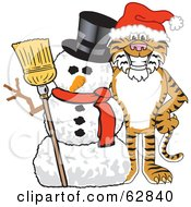 Royalty Free RF Clipart Illustration Of A Tiger Character School Mascot With A Snowman by Toons4Biz