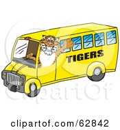 Royalty Free RF Clipart Illustration Of A Tiger Character School Mascot Driving A Bus