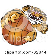 Royalty Free RF Clipart Illustration Of A Tiger Character School Mascot Grabbing A Basketball by Toons4Biz