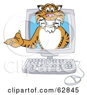 Royalty Free RF Clipart Illustration Of A Tiger Character School Mascot In A Computer by Toons4Biz