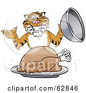 Royalty Free RF Clipart Illustration Of A Tiger Character School Mascot Serving A Thanksgiving Turkey by Toons4Biz