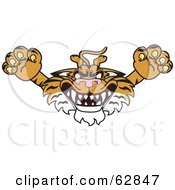 Royalty Free RF Clipart Illustration Of A Tiger Character School Mascot Lurching Forward by Toons4Biz