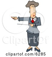 Executive Woman Pointing A Pointer Stick Towards Her Right Clipart Picture by Dennis Cox