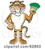 Royalty Free RF Clipart Illustration Of A Tiger Character School Mascot Holding Cash by Toons4Biz