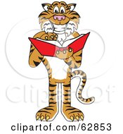 Royalty Free RF Clipart Illustration Of A Tiger Character School Mascot Reading by Toons4Biz