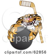 Royalty Free RF Clipart Illustration Of A Tiger Character School Mascot Grabbing A Hockey Puck by Toons4Biz