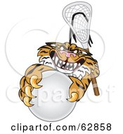 Tiger Character School Mascot Playing Lacrosse