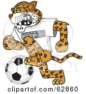 Cheetah Character School Mascot Playing Soccer