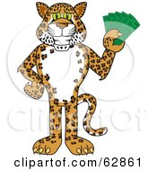 Cheetah Jaguar Or Leopard Character School Mascot Holding Money