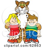 Royalty Free RF Clipart Illustration Of A Cheetah Jaguar Or Leopard Character School Mascot With School Children