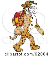 Royalty Free RF Clipart Illustration Of A Cheetah Jaguar Or Leopard Character School Mascot Walking And Wearing A Backpack