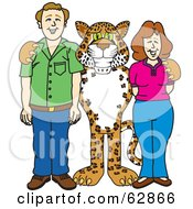 Cheetah Jaguar Or Leopard Character School Mascot With Teachers Or Parents