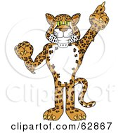 Cheetah Jaguar Or Leopard Character School Mascot Pointing Up