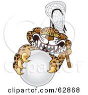 Cheetah Jaguar Or Leopard Character School Mascot Playing Lacrosse