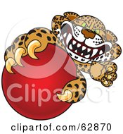 Cheetah Jaguar Or Leopard Character School Mascot Grabbing A Red Ball