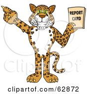 Cheetah Jaguar Or Leopard Character School Mascot Holding A Report Card