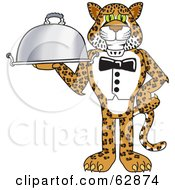 Cheetah Jaguar Or Leopard Character School Mascot Serving A Platter
