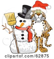 Cheetah Jaguar Or Leopard Character School Mascot With A Snowman