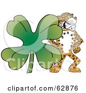 Cheetah Jaguar Or Leopard Character School Mascot With A Clover