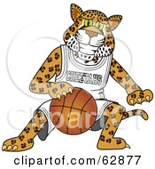 Royalty Free RF Clipart Illustration Of A Cheetah Character School Mascot Playing Basketball
