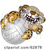 Cheetah Jaguar Or Leopard Character School Mascot Grabbing A Volleyball