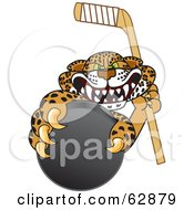 Cheetah Jaguar Or Leopard Character School Mascot Grabbing A Hockey Puck