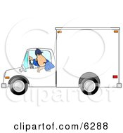 Man Backing Up A Delivery Truck Clipart Picture