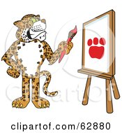Royalty Free RF Clipart Illustration Of A Cheetah Jaguar Or Leopard Character School Mascot Painting A Paw Print by Toons4Biz