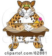 Royalty Free RF Clipart Illustration Of A Cheetah Jaguar Or Leopard Character School Mascot Writing In Class by Toons4Biz