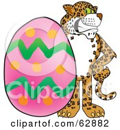 Cheetah Jaguar Or Leopard Character School Mascot With An Easter Egg