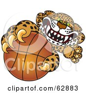 Cheetah Jaguar Or Leopard Character School Mascot Grabbing A Basketball