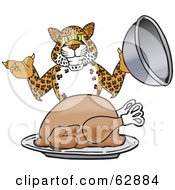 Royalty Free RF Clipart Illustration Of A Cheetah Jaguar Or Leopard Character School Mascot Serving A Thanksgiving Turkey by Toons4Biz