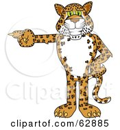 Royalty Free RF Clipart Illustration Of A Cheetah Jaguar Or Leopard Character School Mascot Pointing Left